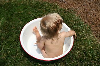 Ava in washtub